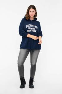 Zizzi sweater VLONA met tekst donkerblauw/wit, Donkerblauw/wit