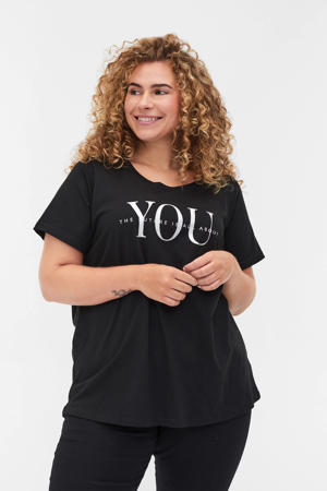 T-shirt VILMA, S/S, STRAIGHT TEE van biologisch katoen zwart