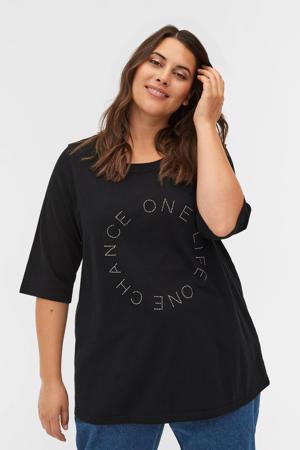 T-shirt EFJOLLA met strass steentjes zwart