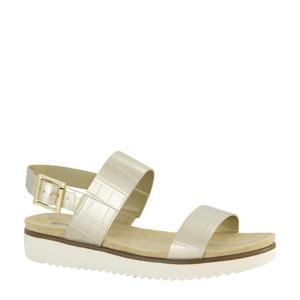 sandalen met crocoprint goud