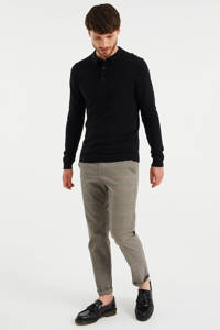 WE Fashion fijngebreide slim fit polo Black Uni