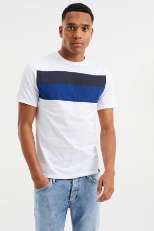 slim fit T-shirt met printopdruk white uni