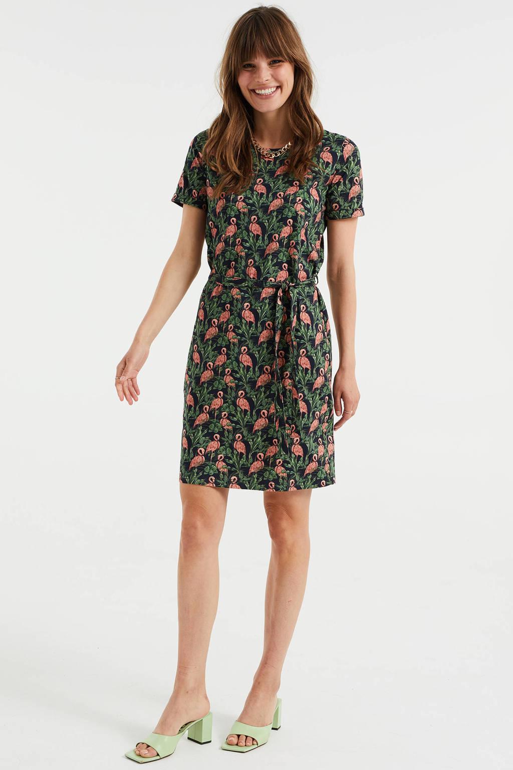WE Fashion jurk met all over print en ceintuur zwart/lichtroze/groen, Zwart/lichtroze/groen