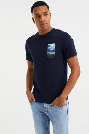 slim fit T-shirt met printopdruk heavy blue