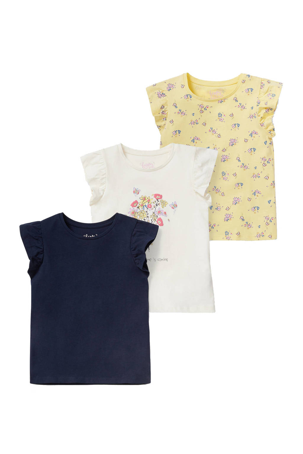 C&A Happy girls Club T-shirt - set van 3 wit/donkerblauw/geel, Geel/donkerblauw/wit
