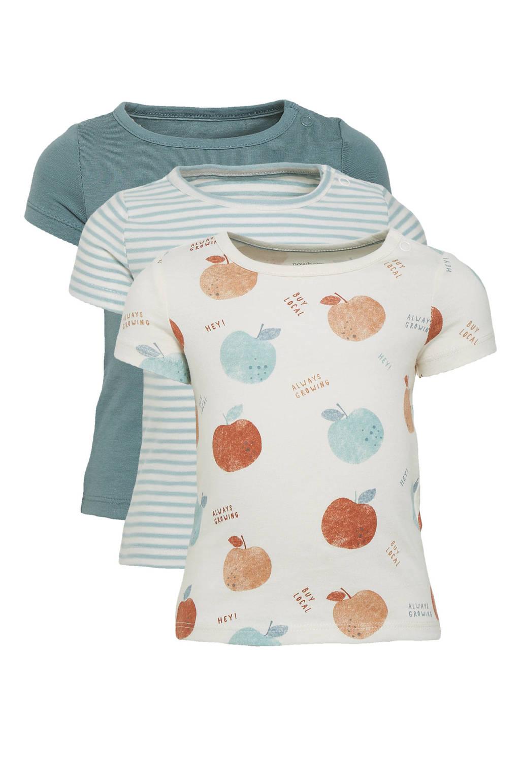 C&A Baby Club T-shirt - set van 3 grijsgroen/ecru, Grijsgroen/ecru