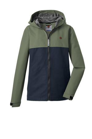 kids unisex outdoor jas Visby groen/donkerblauw