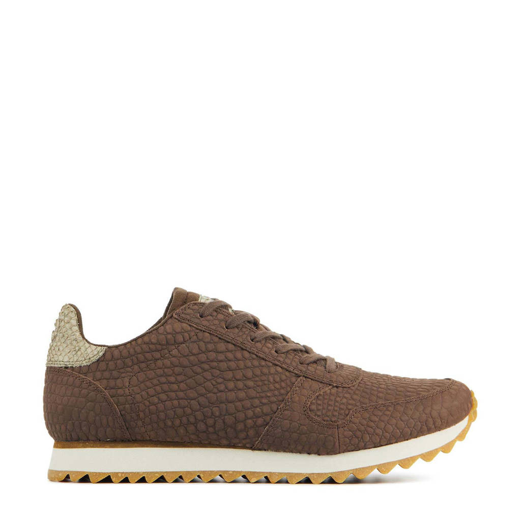 Woden Ydun Croco II  leren sneakers crocoprint bruin, Bruin