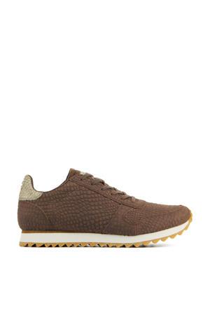 Ydun Croco II  leren sneakers crocoprint bruin