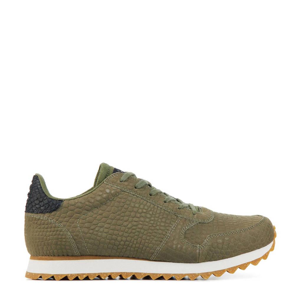 Woden Ydun Croco II  leren sneakers met crocoprint olijfgroen, Olijfgroen