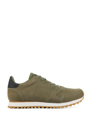 Ydun Croco II  leren sneakers met crocoprint olijfgroen