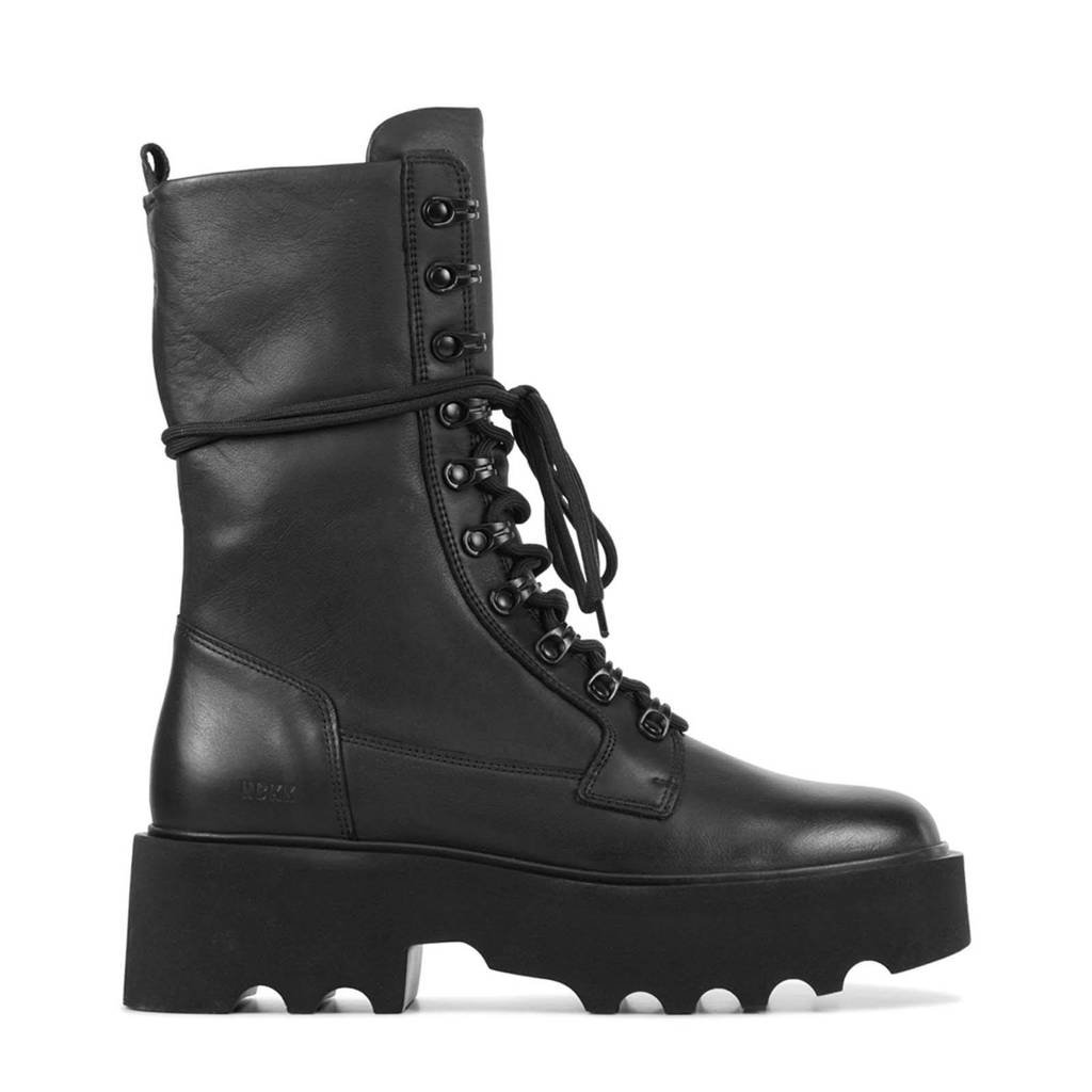 Nubikk Fara Noir  leren veterboots zwart, black leather