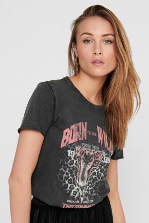 T-shirt met printopdruk antraciet