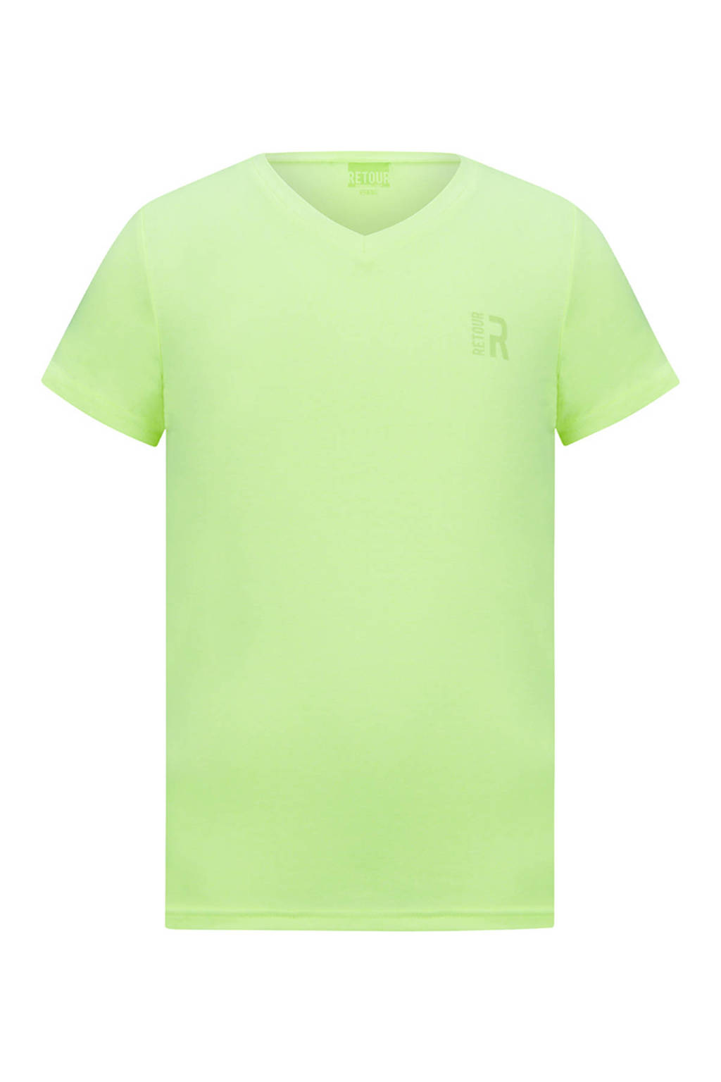 Retour Denim basic T-shirt Sean neon geel, Neon geel