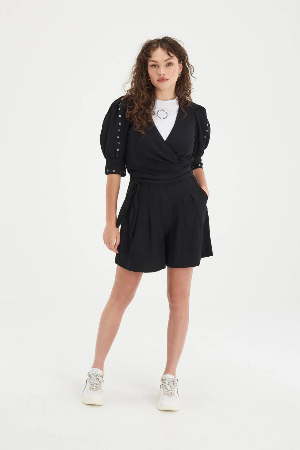 Shoeby Eksept straight fit korte broek Cara zwart, Zwart