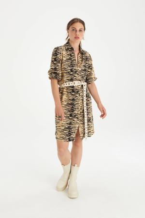 blousejurk Tender met all over print en ceintuur zand/zwart