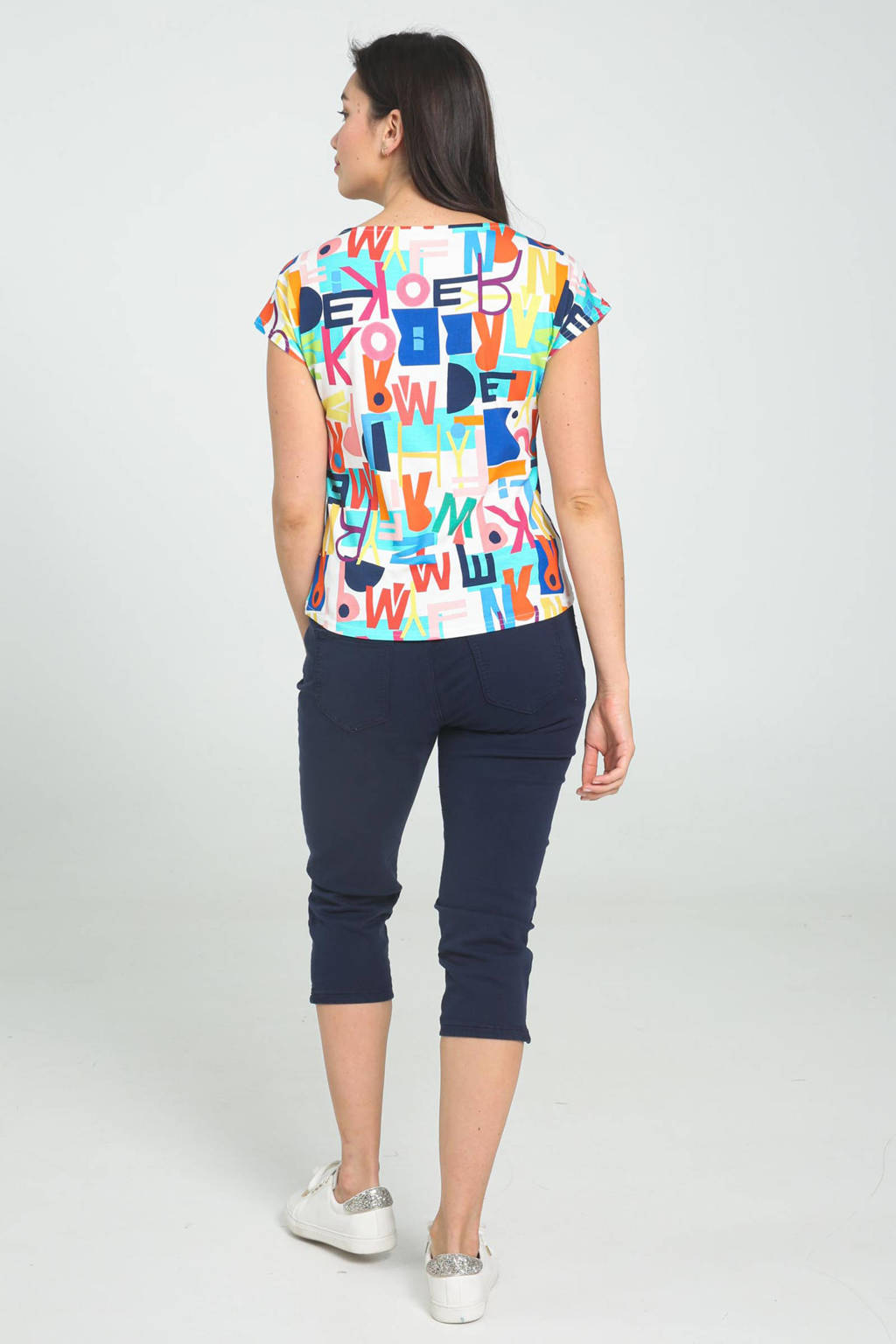 Cassis T-shirt met all over print wit/multi, Wit/multi