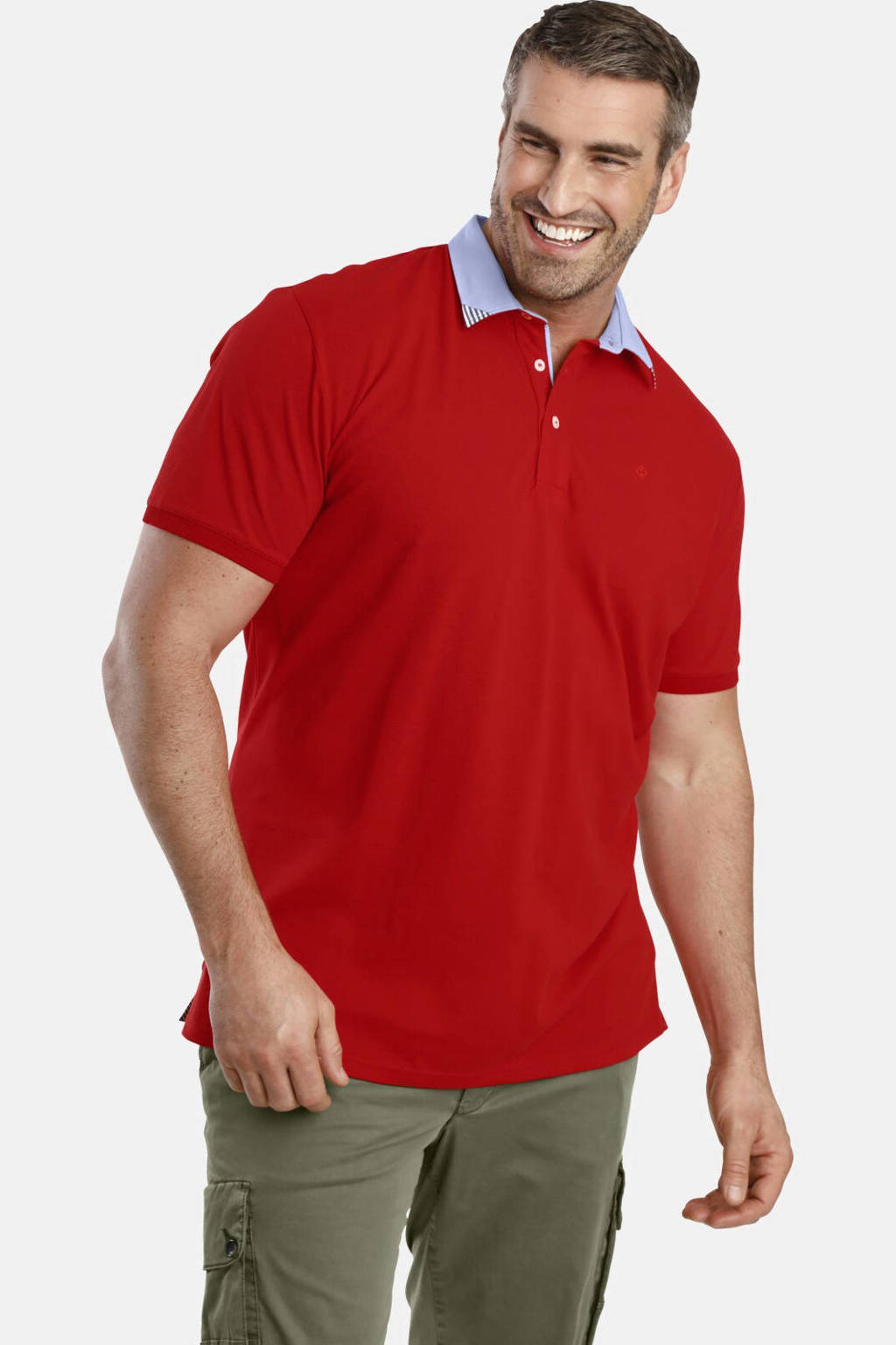 Charles Colby oversized polo EARL OZAN Plus Size rood, Rood