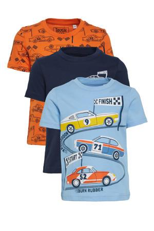 T-shirt - set van 3 donkerblauw/lichtblauw/oranje