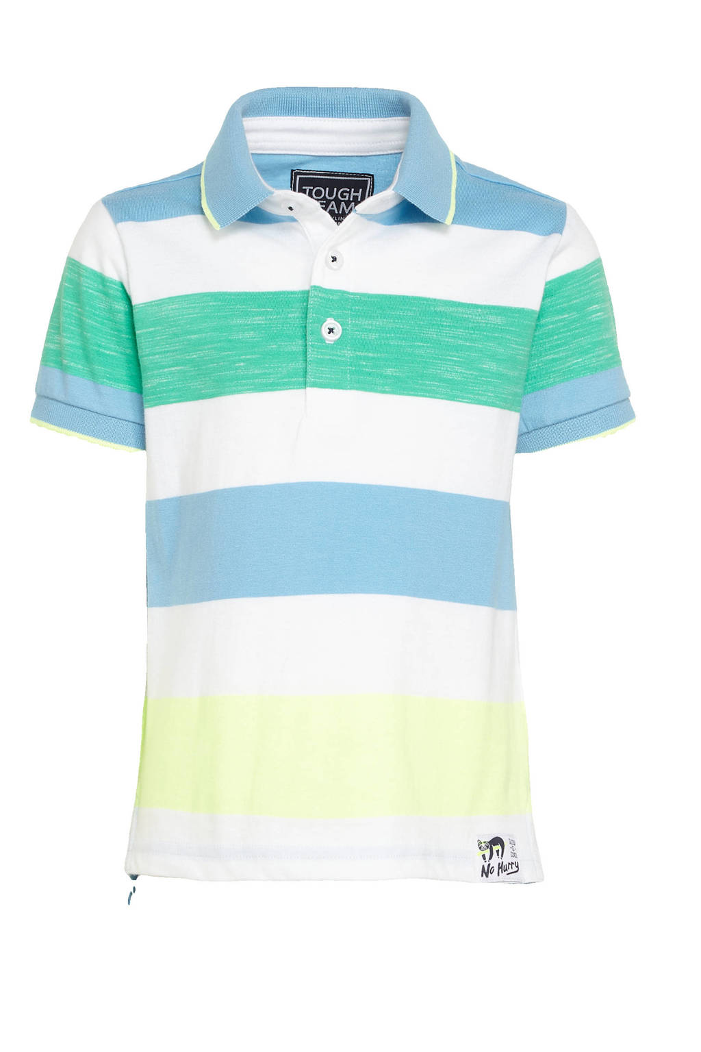 C&A Palomino gestreepte polo wit/blauw/groen/geel, Wit/blauw/groen/geel