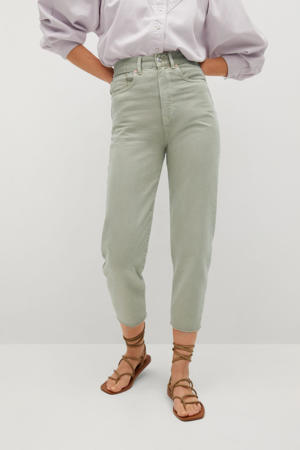 cropped high waist tapered fit jeans lichtgroen