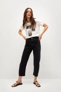Mango cropped high waist mom jeans donkergrijs, Donkergrijs