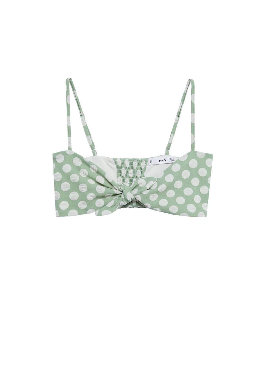 Mango bandeau bikinitop met stippen groen/wit, Groen/wit