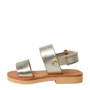 leren sandalen goud