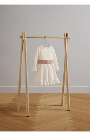 jurk met ruches naturel wit
