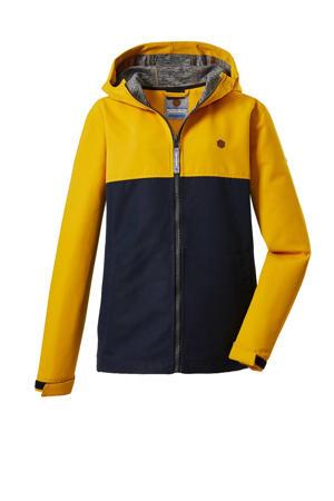 kids unisex outdoor jas Visby geel/donkerblauw