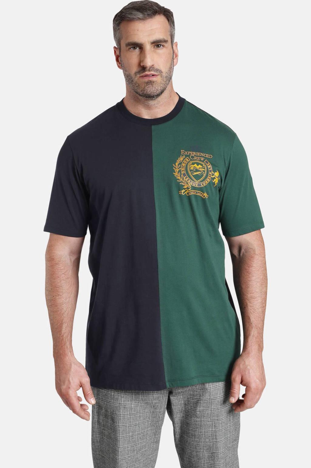 Charles Colby T-shirt EARL VERNON Plus Size met borduursels donkerblauw/groen, Donkerblauw/groen