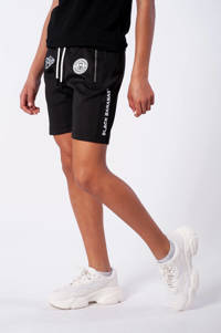 BLACK BANANAS unisex skinny sweatshort F.C. Basic met logo zwart, Zwart