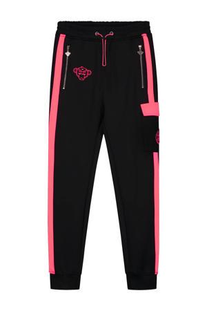 skinny broek Anorak Match met logo zwart/roze