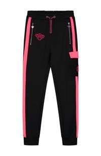 BLACK BANANAS unisex skinny broek Anorak Match met logo zwart/roze, Zwart/roze