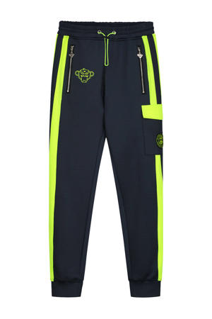 skinny broek Anorak Match met logo grijs/geel