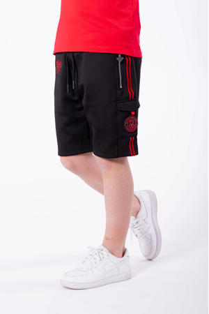 unisex skinny sweatshort Unity met logo zwart/rood
