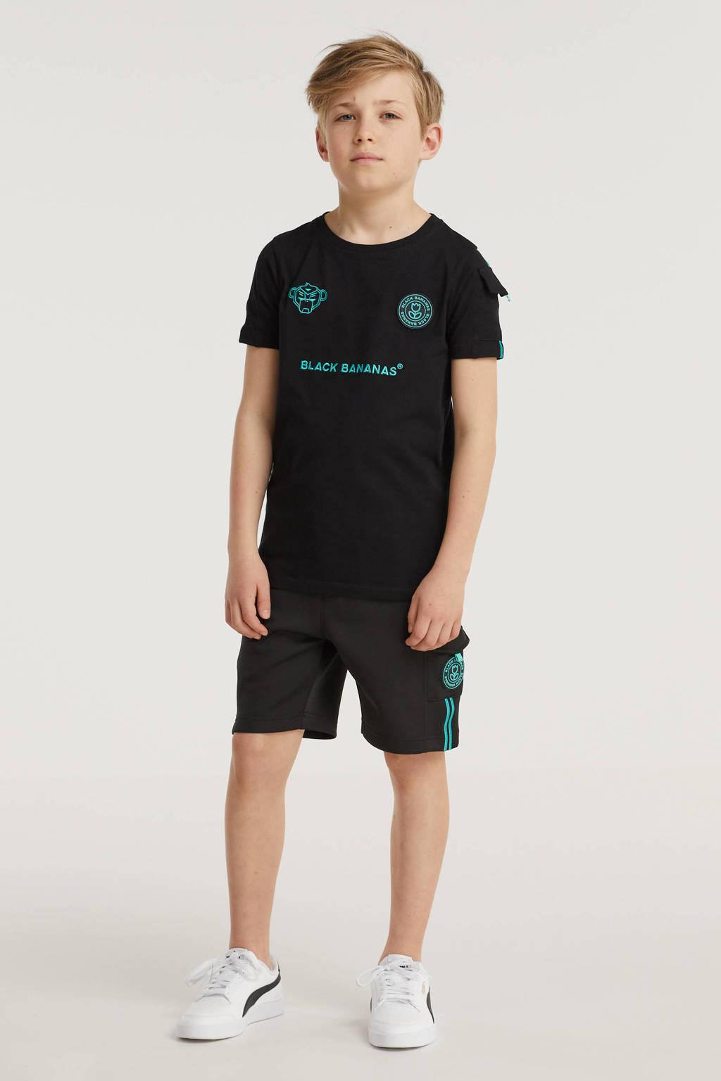 BLACK BANANAS unisex skinny sweatshort Unity met logo zwart/aqua, Zwart/aqua