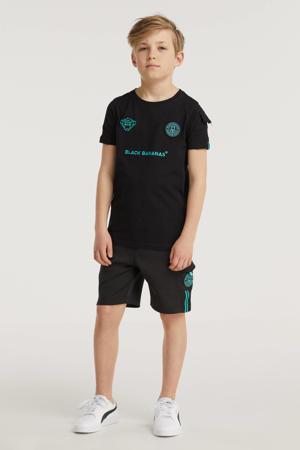 unisex skinny sweatshort Unity met logo zwart/aqua