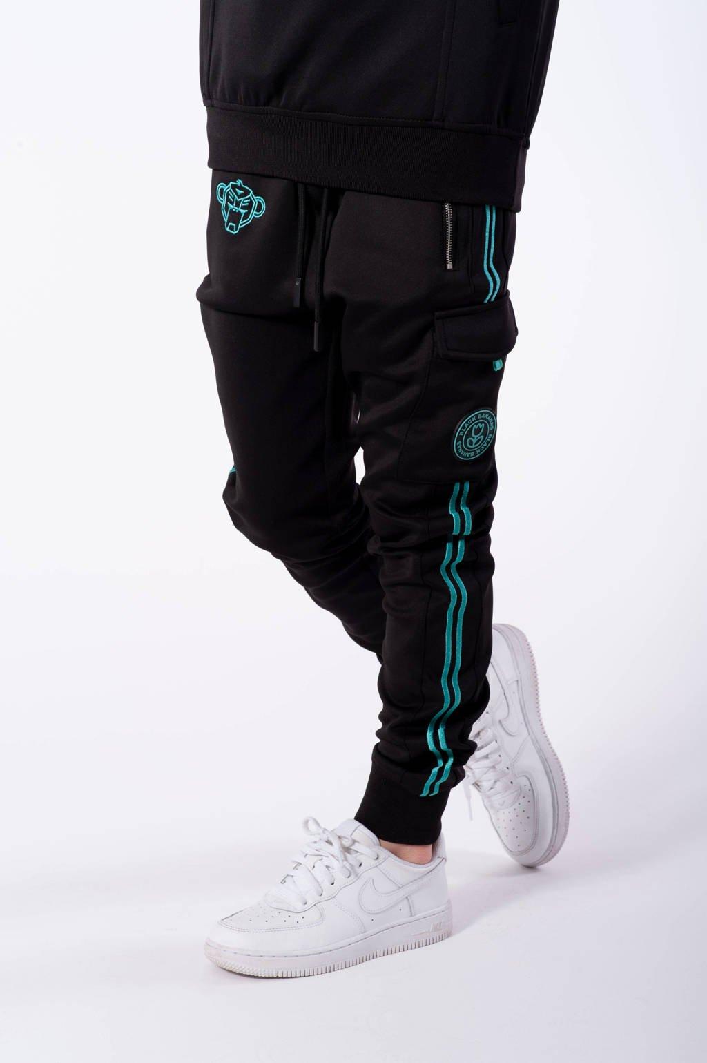 BLACK BANANAS unisex skinny broek Unity met logo zwart/blauw, Zwart/blauw