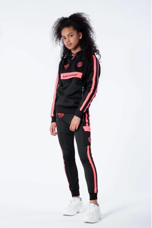 hoodie Anorak Match met logo zwart/roze
