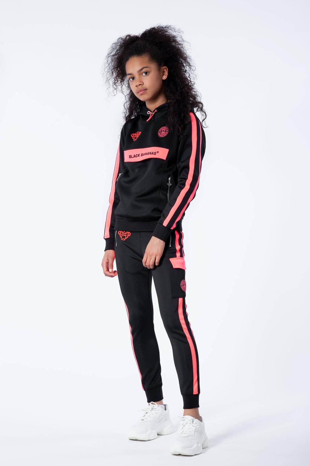 BLACK BANANAS unisex hoodie Anorak Match met logo zwart/roze, Zwart/roze