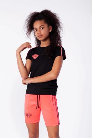 T-shirt Piping met logo zwart/roze