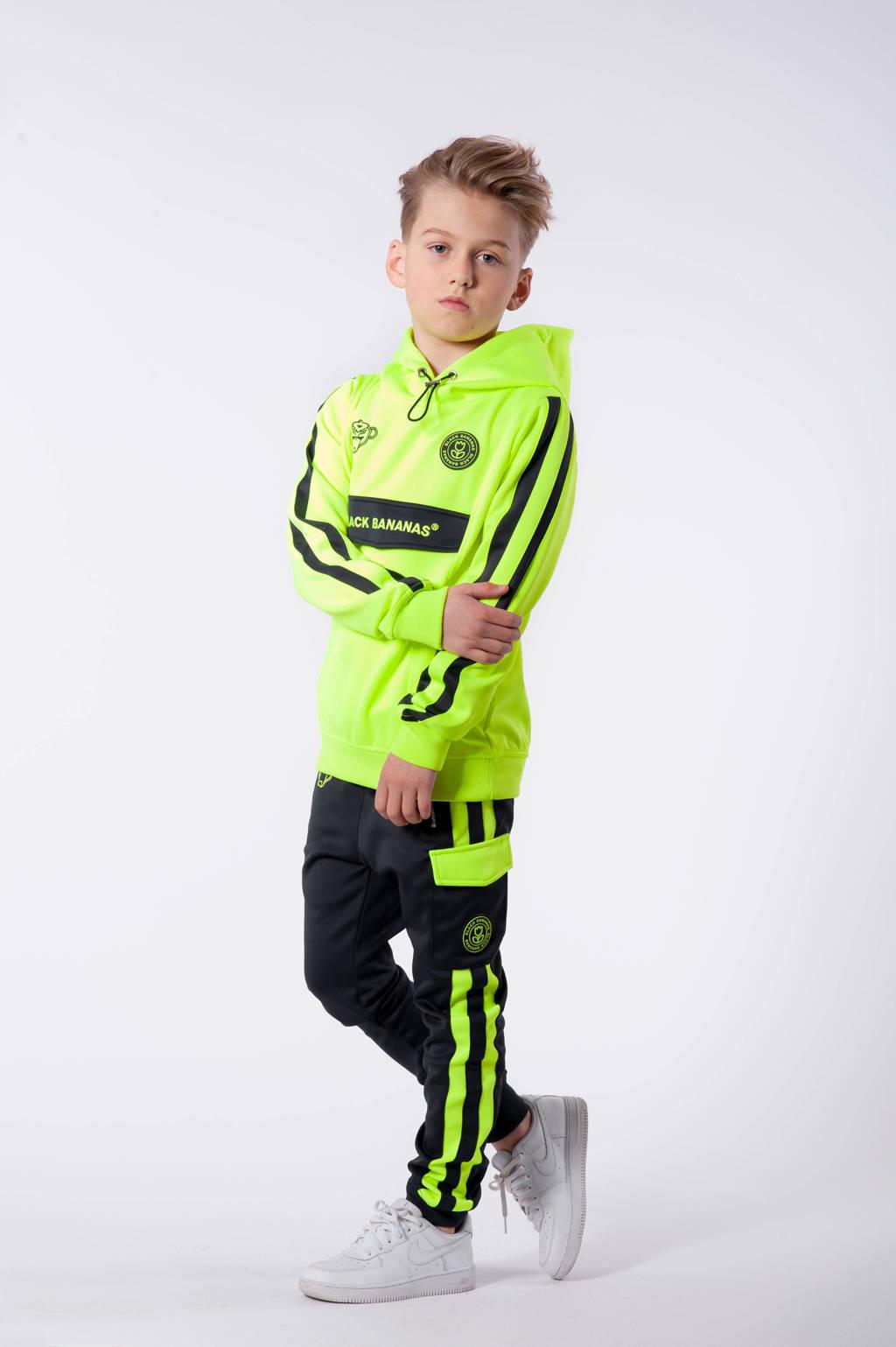 BLACK BANANAS unisex hoodie Anorak Match met logo neon geel, Neon geel