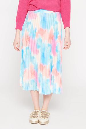 plisserok lichtblauw/roze