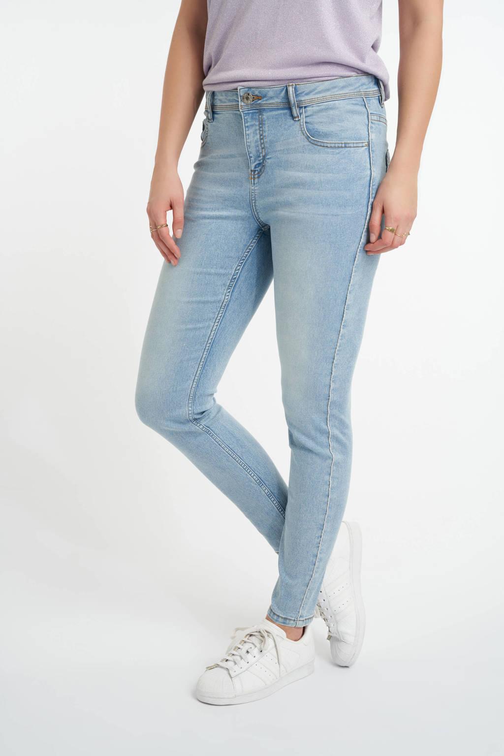 MS Mode slim fit jeans met zijstreep light denim, Light denim