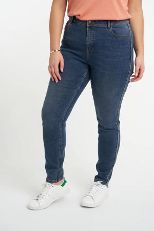 slim fit jeans met zijstreep dark denim