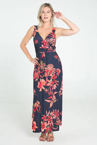 Cassis maxi jurk met bladprint en plooien donkerblauw/oranje, Donkerblauw/oranje