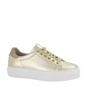 leren plateau sneakers goud