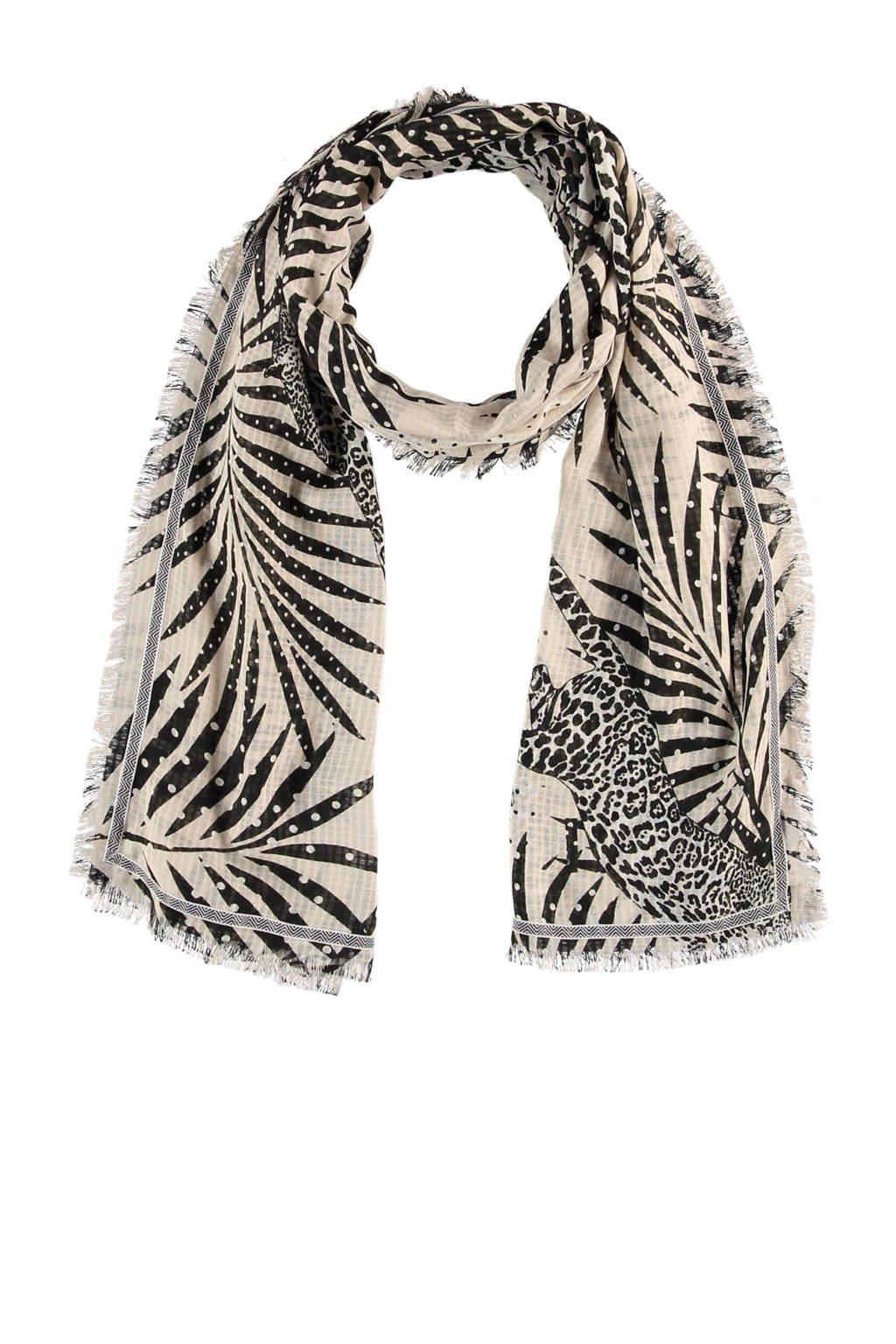 Sarlini sjaal beige/zwart, Beige/zwart
