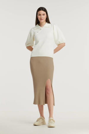 ribgebreide rok beige